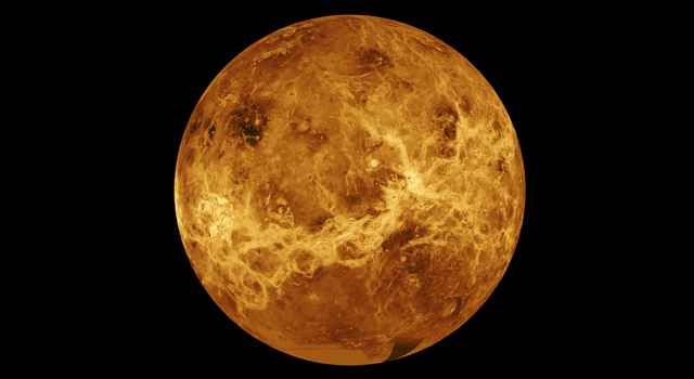 This global view of the surface of Venus is centered at 180 degrees east longitude.