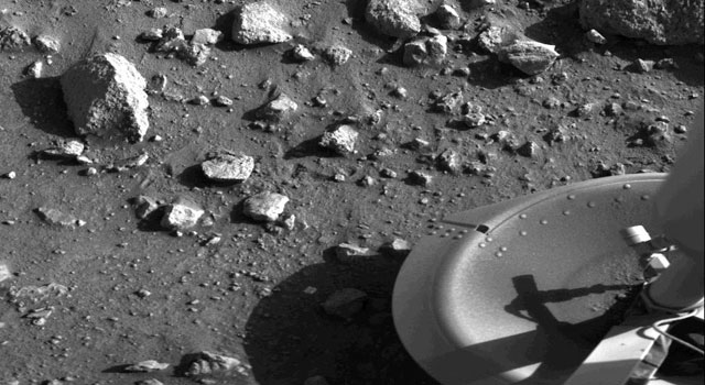 This is the first photograph ever taken on the surface of the planet Mars.