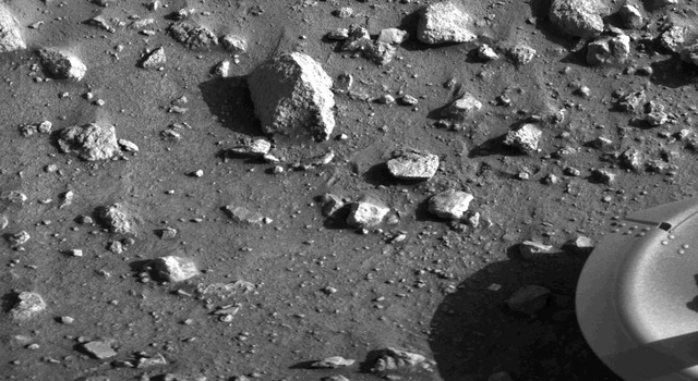 This is the first photograph ever taken on the surface of the planet Mars. It was obtained by Viking 1 just minutes after the spacecraft landed successfully early today.