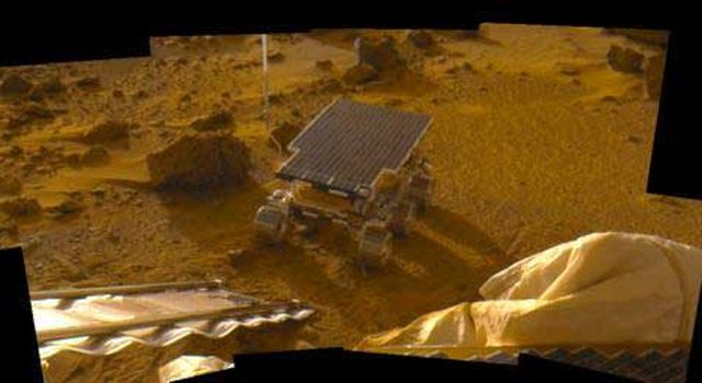 Sojourner rover deployed on Mars