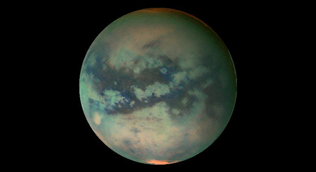 false-color image of Titan