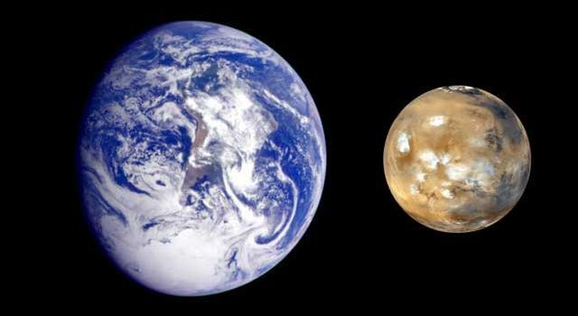Side-by-side comparison of Earth and Mars