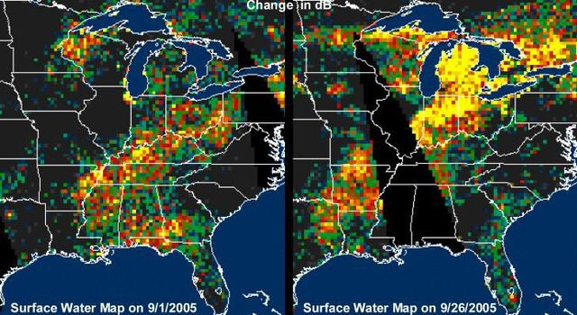 extensive pattern of rain water deposited by Hurricanes Katrina and Rita on land surfaces over several states in the southern and eastern United States