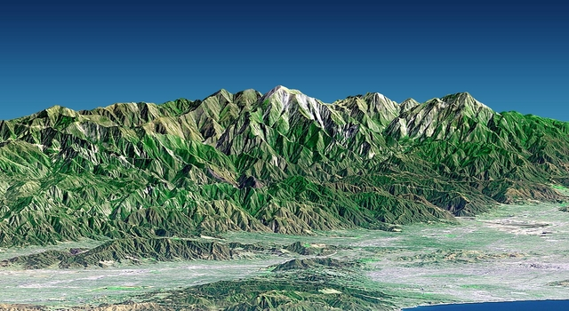 This 3-D perspective view of metropolitan Los Angeles was generated using topographic data from the Shuttle Radar Topography Mission (SRTM), an enhanced-color Landsat 7 satellite image and a false sk