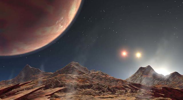 artist's concept showing the view from a hypothetical moon in orbit around the first known planet to reside in a tight-knit triple-star system
