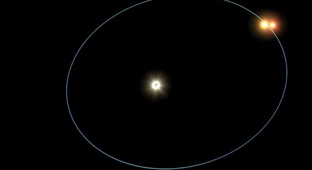 This artist's concept shows  orbits of a triple-star system called HD 188753