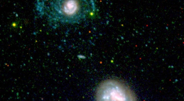 image highlighting hidden spiral arms of nearby galaxy