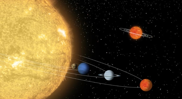 artist's concept compares a hypothetical  solar system centered around a tiny sun (top) to a known solar system centered around a star, called 55 Cancri, which is about the same size as our sun