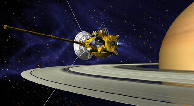 his is an artists concept of Cassini during the Saturn Orbit Insertion (SOI) maneuver, just after the main engine has begun firing.