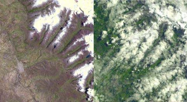 comparison images of a glacier in Peru (left image was acquired Nov. 5, 2001; right image was acquired Apr. 8, 2003)