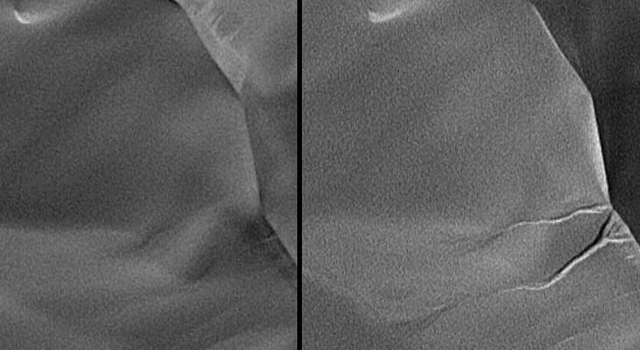 side-by-side orbital images showing formation of gullies in martian sand dune