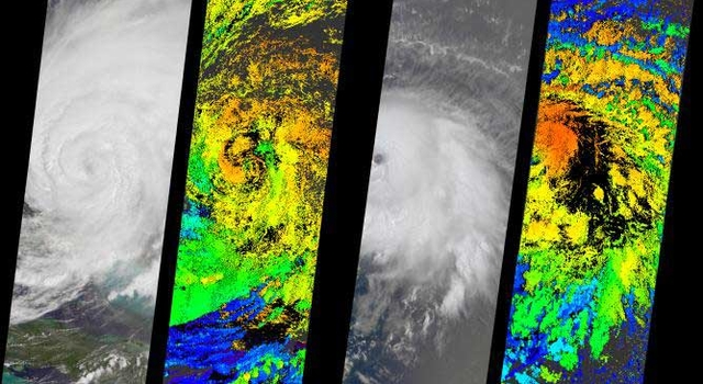 Hurricane Frances shown in left two panels; Hurricane Ivan in right -- click to see full image