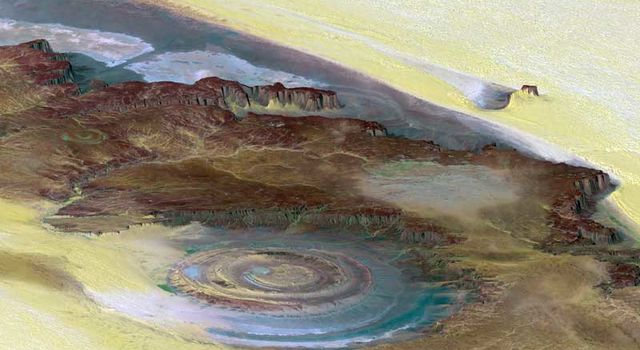 Richat Structure, in the Sahara desert of Mauritania