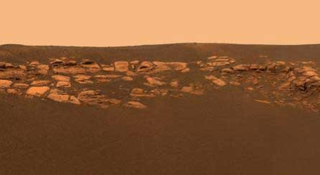 high-resolution image captured by the Mars Exploration Rover Opportunity's panoramic camera