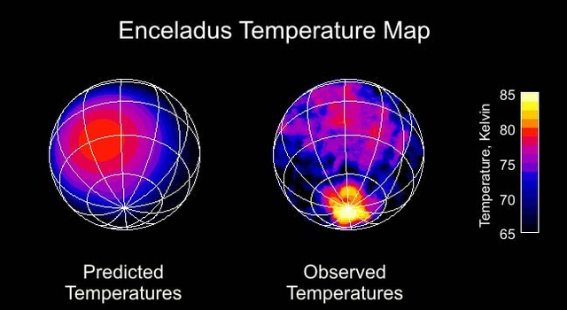 map showing observed temperatures at Enceladus