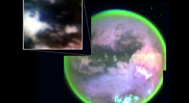 image from Cassini's visual and infrared mapping spectrometer clearly shows surface features on Titan.