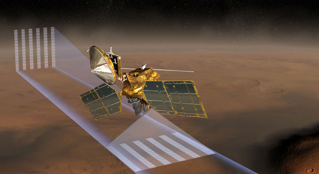 This artist's concept shows NASA's Mars Reconnaissance Orbiter