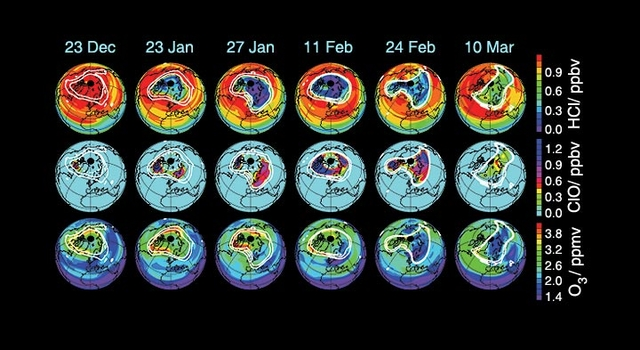 series of globes illustrating arctic ozone loss for winter, 2004-2005