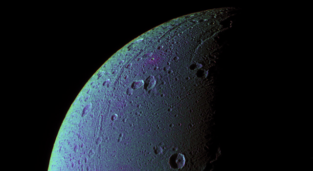 This view highlights tectonic faults and craters on Dione, an icy world that has undoubtedly experienced geologic activity since its formation.