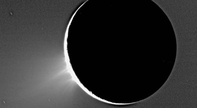 Water vapor and ice erupt from Saturn's moon Enceladus, the source of a newly discovered donut-shaped cloud around Saturn.