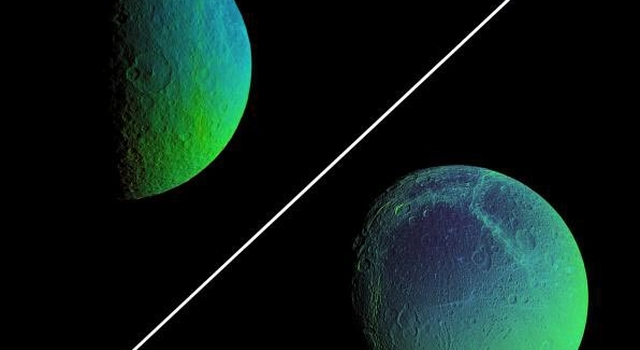 false-color view of Rhea (above) and Dione