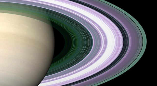 simulated image depicting observed structure of Saturn's rings