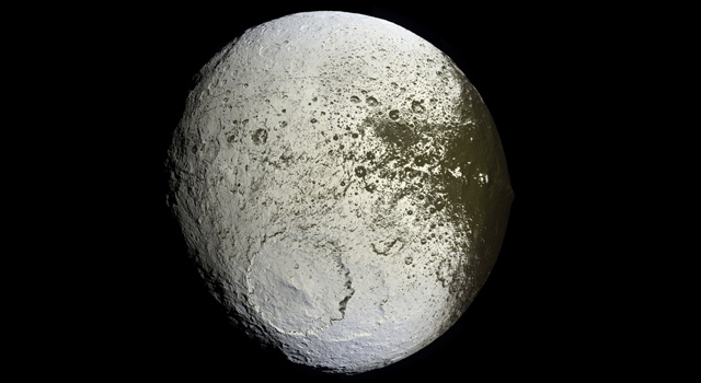false-color view of Saturn's moon Iapetus