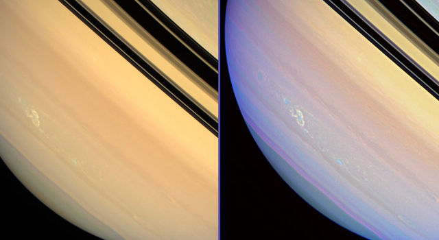 enhanced view of storm on Saturn