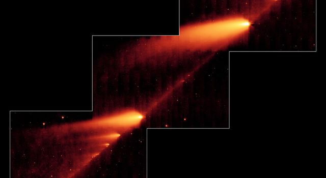 This image from NASA's Spitzer Space Telescope shows the broken Comet 73P/Schwassman-Wachmann 3 skimming along a trail of debris.