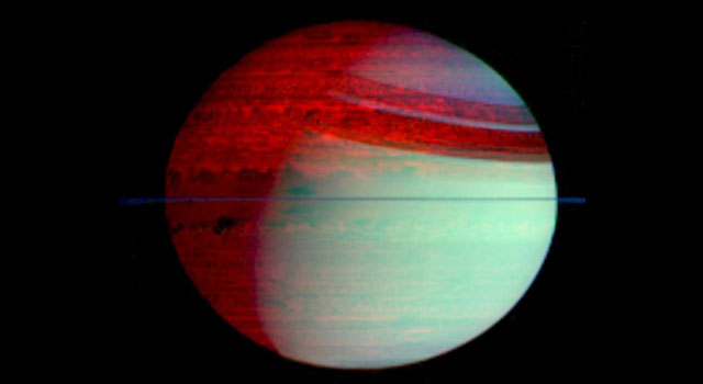 false-color view of Saturn