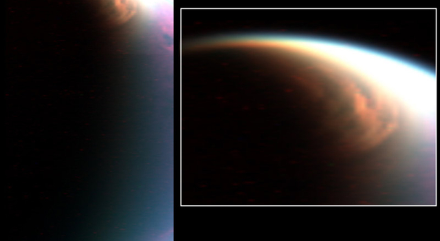 two views of cloud over Titan's north pole