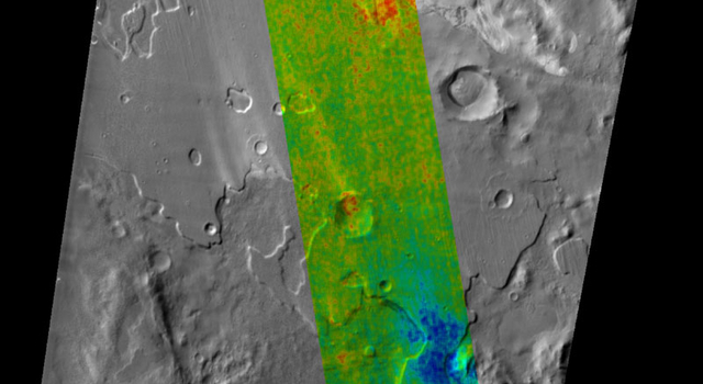 This color-coded map indicates the depth to icy layers at a site in southern Mars.