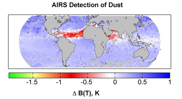 global map showing AIRS detection of dust for July 2003