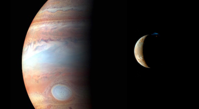 This is a montage of New Horizons images of Jupiter and its volcanic moon Io