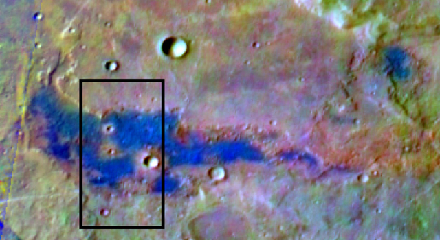 Bright blue marks a deposit of chloride (salt) minerals in the southern highlands of Mars in this false-color image.