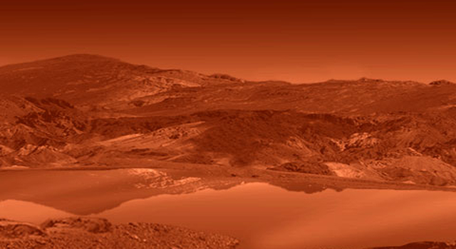 artist concept of lake on Titan