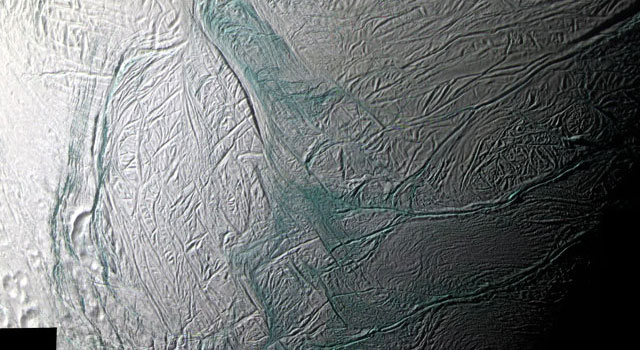close-up view of Enceladus