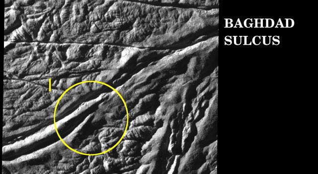 Baghad Sulcus on Enceladus