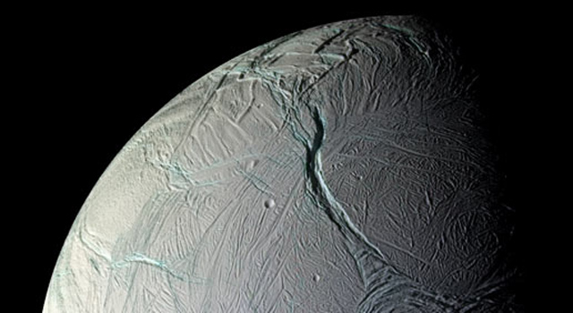 NASA's Cassini captured this stunning mosaic as the spacecraft sped away from this geologically active moon of Saturn