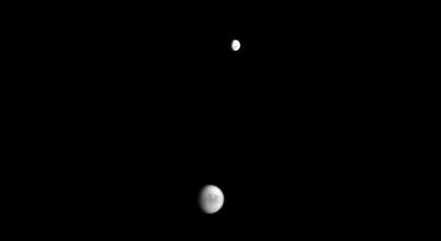 Saturn's moons Titan and Dione
