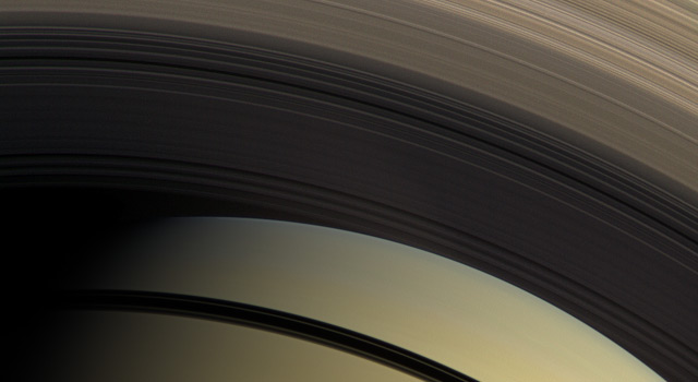 This natural color view from the Cassini spacecraft highlights the myriad gradations in the transparency of Saturn's inner rings.