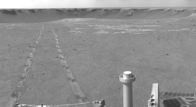 Opportunity and a distant Victoria Crater