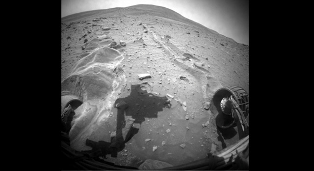 Spirit's view of the soil disturbed by its drives on Mars