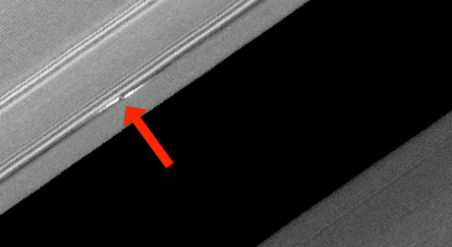 A propeller-shaped disturbance in Saturn's rings