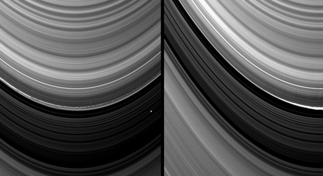 Vertical structures in the variable outer edge of Saturn's B ring cast shadows in these two images captured by NASA's Cassini spacecraft.