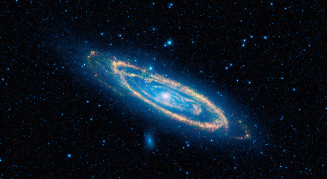 This image highlights the dust that speckles the Andromeda galaxy.