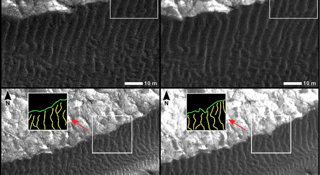 Changes at Edges of Dark Dunes in Nili Patera, Mars