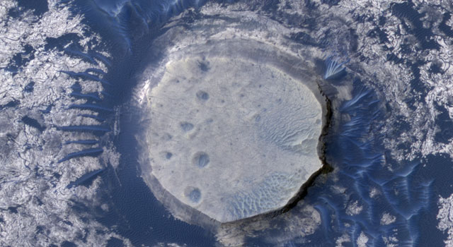 Inverted crater in the Arabia Terra region of Mars