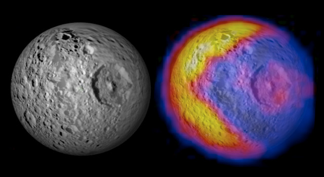 Pattern of daytime temperatures on Mimas