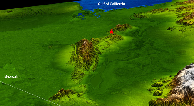 Topography surrounding the Laguna Salada Fault